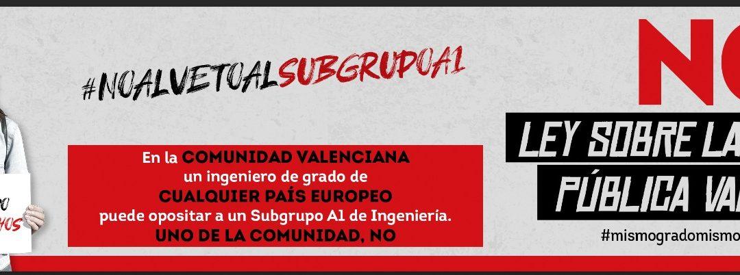 Todos los colegios oficiales de ingenierías de grado de la Comunidad Valenciana y los alumnos de sus carreras se unen para modificar la tramitación de la Nueva Ley de Función pública Valenciana